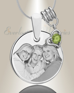 Round August Photo Engraved Stainless Keepsake