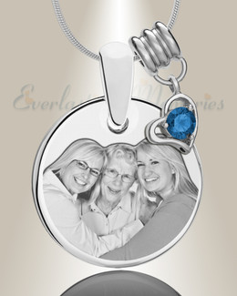 Round September Photo Engraved Stainless Keepsake
