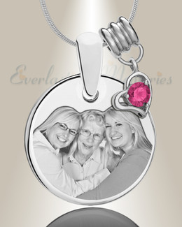 Round October Photo Engraved Stainless Keepsake