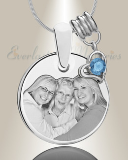 Round December Stainless Photo Engraved Keepsake