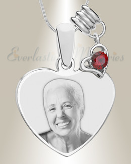 January Heart Photo Engraved Stainless Keepsake