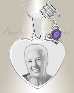February Heart Photo Engraved Stainless Keepsake