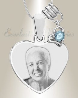 March Heart Photo Engraved Stainless Keepsake