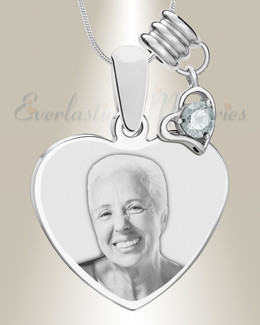 April Heart Photo Engrave Stainless Keepsake