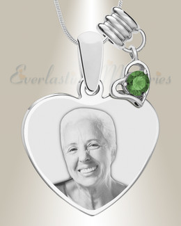 May Heart Photo Engraved Stainless Keepsake