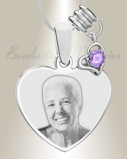 June Heart Photo Engraved Stainless Keepsake