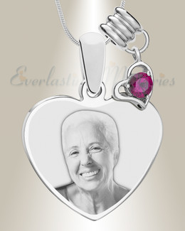 July Heart Photo Engraved Stainless Keepsake