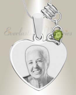 August Heart Photo Engraved Stainless Keepsake