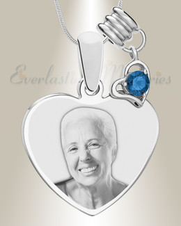 September Heart Photo Engraved Stainless Keepsake