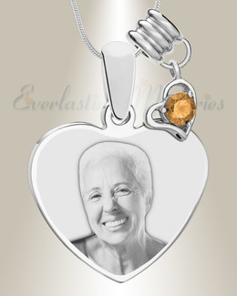 November Heart Photo Engrave Stainless Keepsake