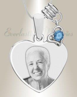 December Heart Photo Engraved Stainless