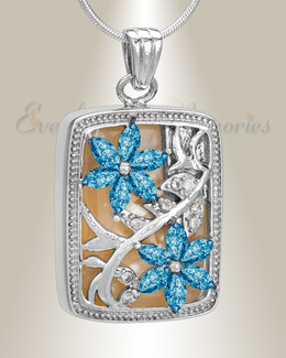 Silver and Blue In Bloom Cremation Jewelry