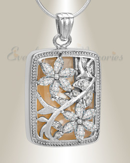 Silver and Clear In Bloom Cremation Jewelry