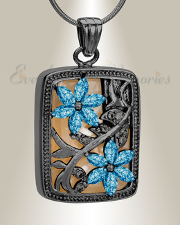 Black and Blue In Bloom Cremation Jewelry