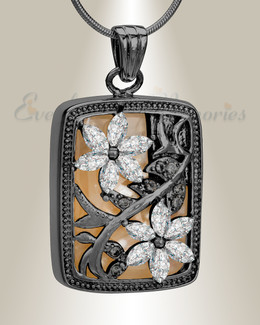 Black and Clear In Bloom Cremation Jewelry
