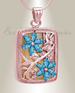 Rose Gold and Blue In Bloom Cremation Jewelry