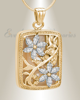 Gold and Clear In Bloom Cremation Jewelry