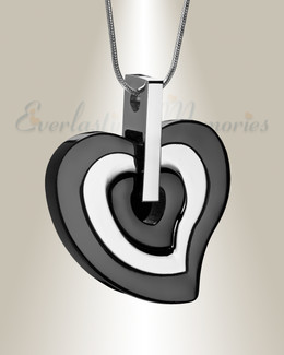 Black and Silver Sincere Heart Urn Pendant