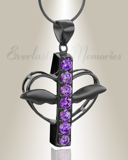 Black and Purple Joyful Feelings Cremation Jewelry