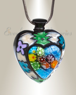 Black Lavish Heart Cremation Jewelry