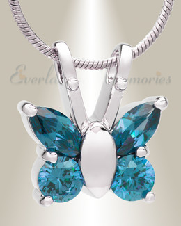 Blue and Silver Jeweled Butterfly Memorial Jewelry