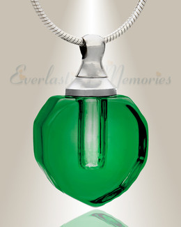 Glass Locket Green Envious Teardrop Cremains Jewelry
