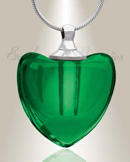 Glass Locket Green Heaven Heart Ash Jewelry