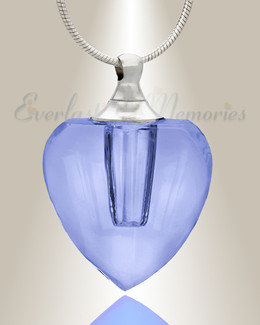 Glass Locket Blue Squared Heart Memorial Jewelry