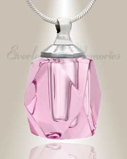 Glass Locket Pink Shasta Cremains Pendant
