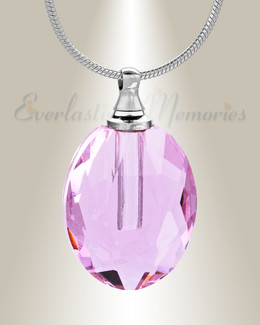 Glass Locket Pink Rounded Cremation Jewelry