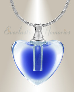 Glass Locket Blue All My Heart Cremation Jewelry