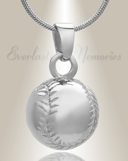 White Gold Baseball Jewelry Urn