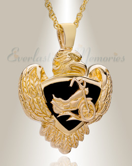 14K Gold Night Rider Funeral Jewelry