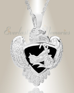 White Gold Night Rider Funeral Jewelry