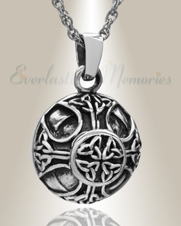 White Gold Celtic Round Cremation Jewelry