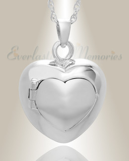 White Gold Purity Heart Funeral Jewelry