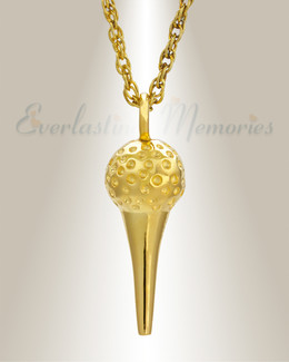 14K Gold Golf Tee Memorial Pendant