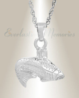 White Gold Fish Memorial Pendant