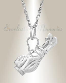 White Gold Golf Clubs Memorial Pendant