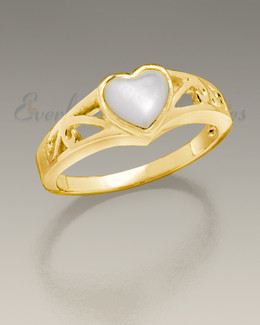 Women's 14K Gold Mother of Pearl Cremation Ring