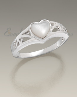 Women's White Gold Mother of Pearl Cremation Ring