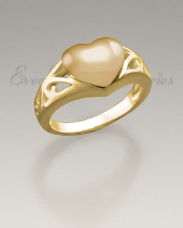Women's 14K Gold Caring Heart Ring Jewelry Urn