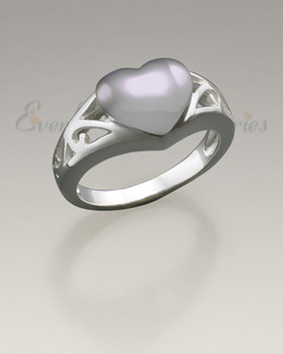 Women's White Gold Caring Heart Ring Jewelry Urn