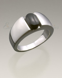 Women's White Gold Simply Sable Cremation Ring