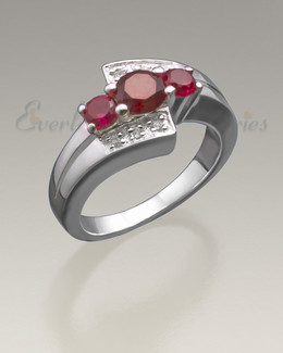 Women's White Gold Shimmer Cremation Ring