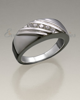 14K Women's White Gold Soothing Ashes Cremation Ring