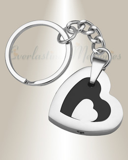 Stainless and Black Honesty Heart Memorial Keychain