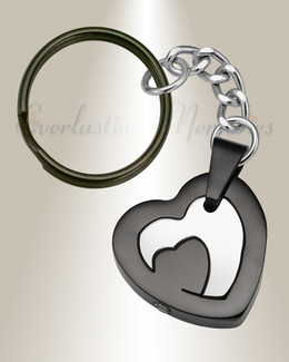 Black Stainless Honesty Heart Urn Keychain