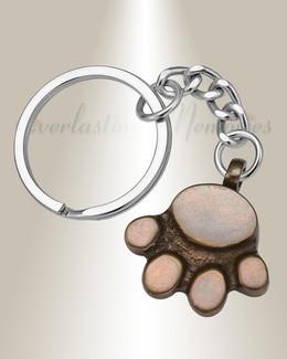 Delicate Paw Brass Urn Keychain