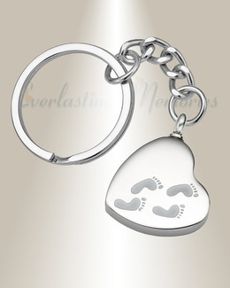 Traveling Heart Stainless Steel Cremation Keychain